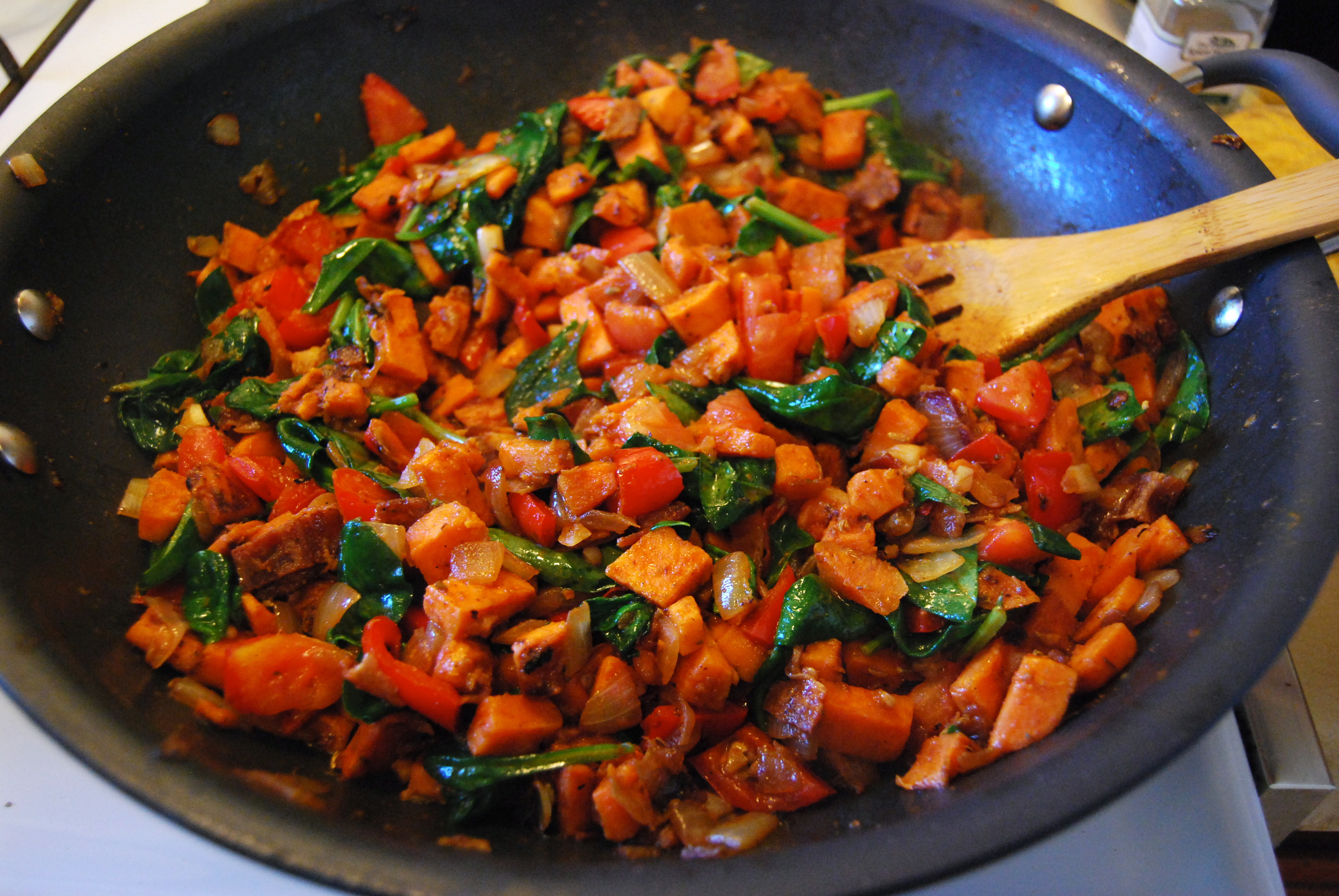Sweet Potato Hash With Canadian Bacon, Red Pepper & Sage ...